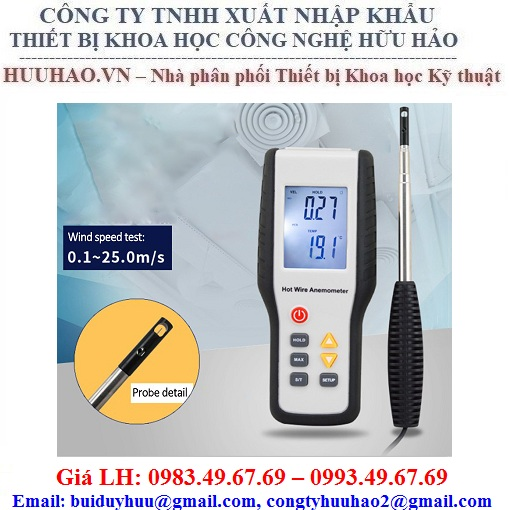 Máy đo tốc độ, lưu lượng, nhiệt độ gió trong đường ống HT-9829