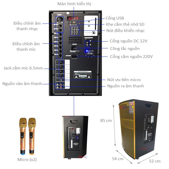 Loa kéo DK-9898FX, công suất 1000W - 281310