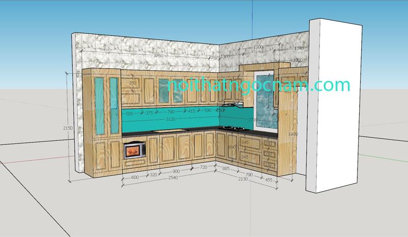 Tủ bếp gỗ sồi Nga tự nhiên