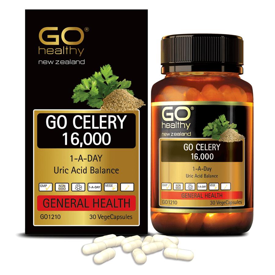 Viên gout nhập khẩu chính hãng New Zealand GO CELERY 16000mg 30 viên giúp giảm các triệu chứng bệnh gút: giảm uric acid, làm giảm triệu chứng sưng đau do gut