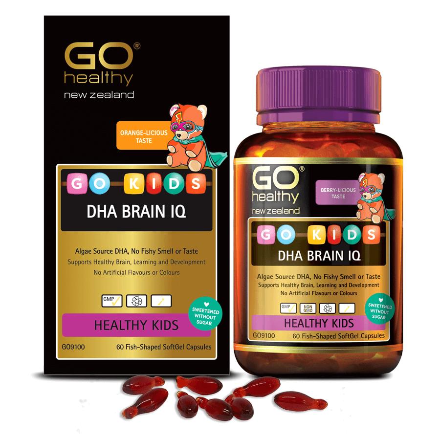 Viên bổ sung DHA cho bé GO KIDS DHA BRAIN IQ (  Hộp 60 viên) -DHA từ tảo biển hỗ trợ tăng cường sức khỏe não bộ; phát triển thị giác, đặc biệt với trẻ cận thị, loạn thị