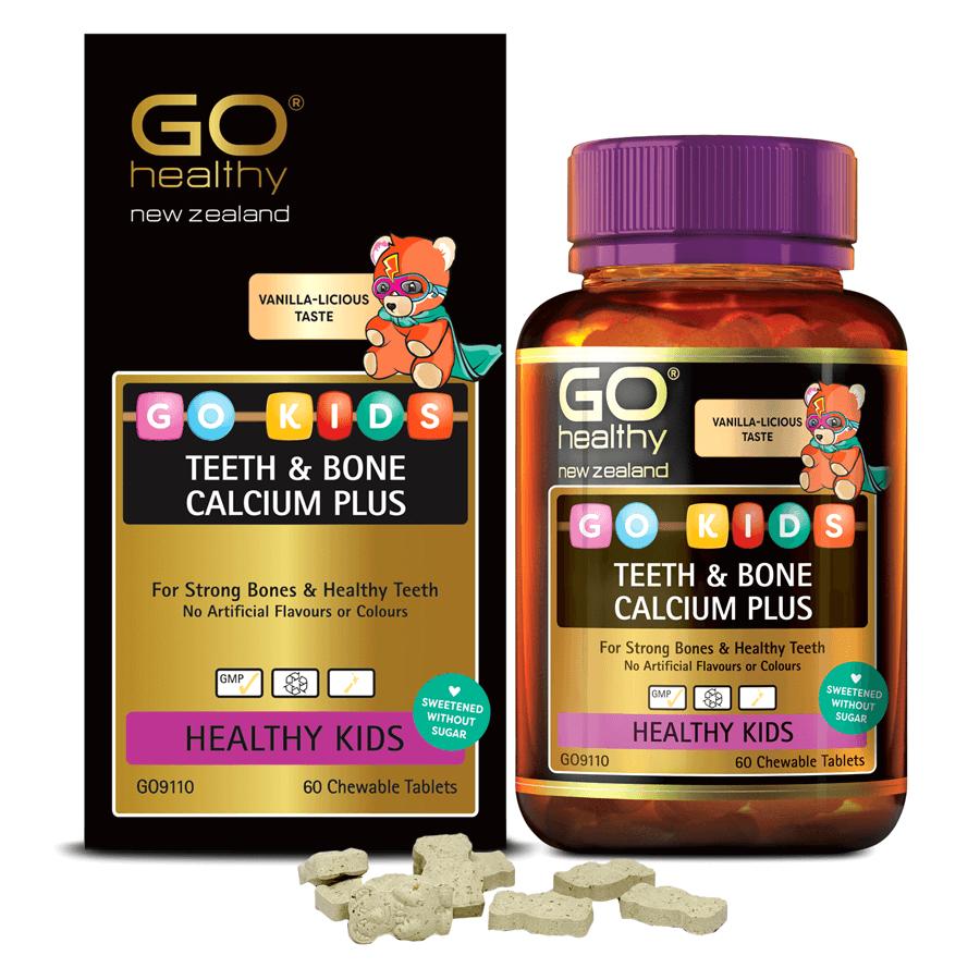 Viên nhai canxi cho bé nhập khẩu chính hãng New Zealand GO KIDS TEETH & BONE CALCIUM PLUS (60 viên) giúp bổ sung canxi, vitamin D3 và vitamin K2 hỗ trợ xương, răng chắc khỏe , tăng chiều cao tối đa, giảm nguy cơ loãng xương