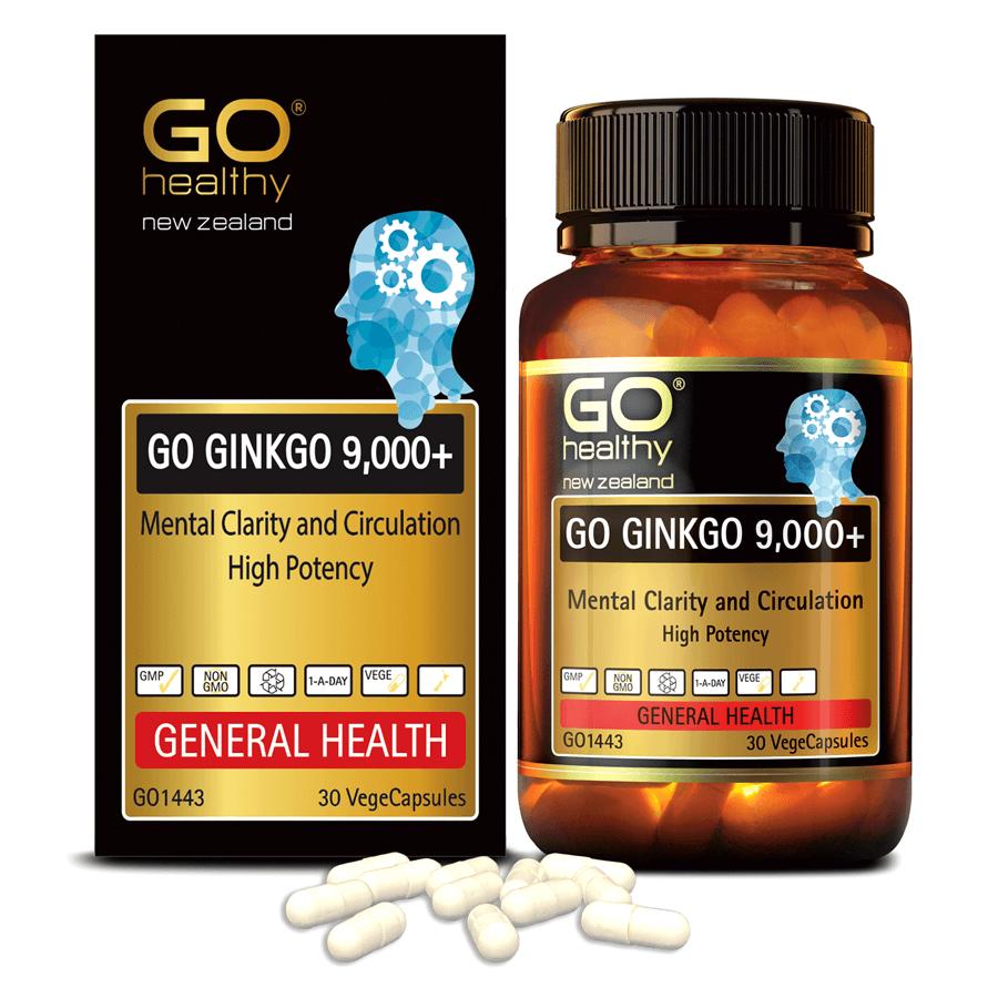Viên uống bổ não nhập khẩu chính hãng New Zealand GO GINKGO 9000+ (30 viên) hỗ trợ tăng cường tuần hoàn não, cải thiện trí nhớ, tăng khả năng tập trung