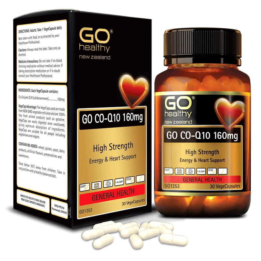 Viên uống bổ tim nhập khẩu chính hãng New Zealand GO CO Q10 160mg 30 viên giảm quá trình lão hóa tim mạch, giảm nguy cơ tai biến tim mạch, giảm cholesterol máu, điều hòa huyết áp, tăng miễn dịch và giúp cơ thể khỏe mạnh