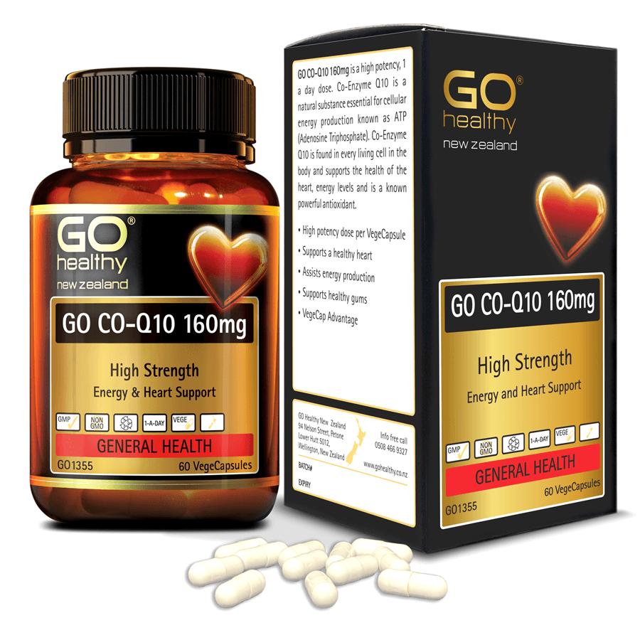 Viên uống bổ tim nhập khẩu chính hãng New Zealand GO CO Q10 160mg 60 viên giảm quá trình lão hóa tim mạch, giảm nguy cơ tai biến tim mạch, giảm cholesterol máu, điều hòa huyết áp, tăng miễn dịch và giúp cơ thể khỏe mạnh