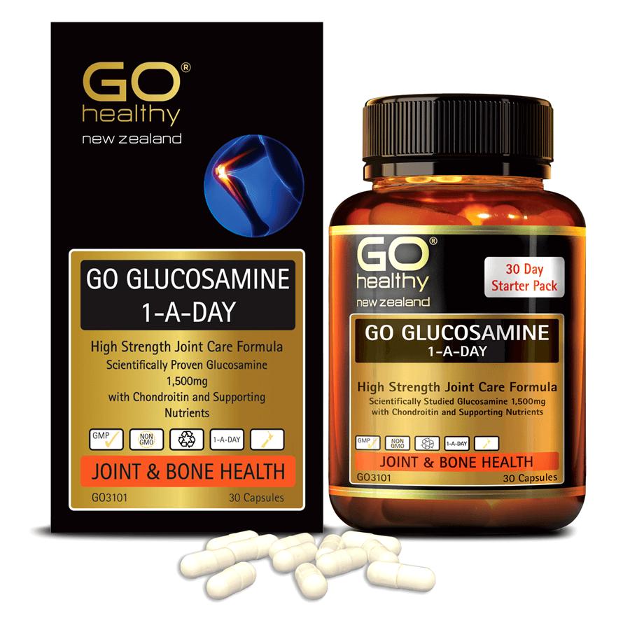 Viên uống bổ xương khớp nhập khẩu chính hãng New Zealand GO GLUCOSAMINE 1-A-DAY 1500mg 30 viên hỗ trợ tăng dịch khớp, giảm tình trạng thoái hóa khớp, khô khớp, cứng khớp; nuôi dưỡng xương sụn khớp khỏe mạnh
