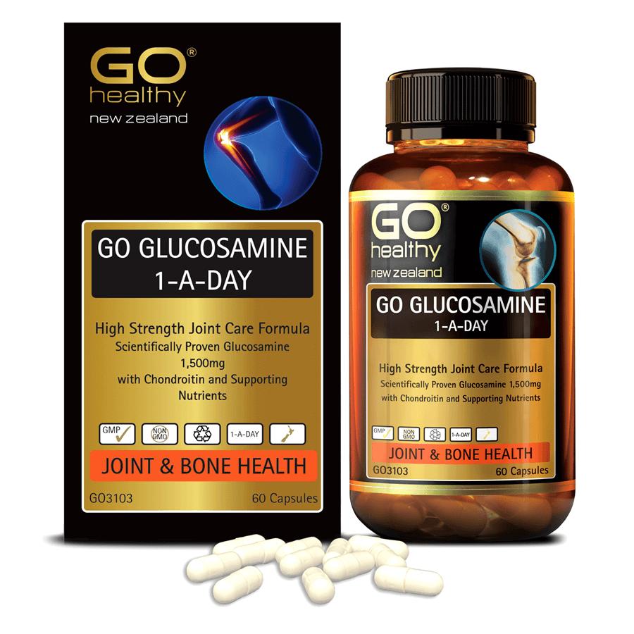 Viên uống bổ xương khớp nhập khẩu chính hãng New Zealand GO GLUCOSAMINE 1-A-DAY 1500mg 60 viên hỗ trợ tăng dịch khớp, giảm tình trạng thoái hóa khớp, khô khớp, cứng khớp; nuôi dưỡng xương sụn khớp khỏe mạnh