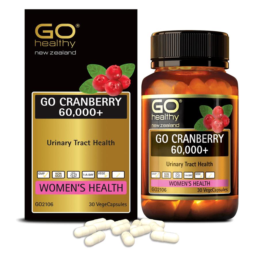 Viên uống viêm đường tiết niệu nhập khẩu chính hãng New Zealand GO CRANBERRY 60000+ (30 viên) hỗ trợ điều trị viêm đường tiết niệu, viêm phụ khoa, giảm tiểu buốt, tiểu dắt, tiểu đêm, khó đi tiểu