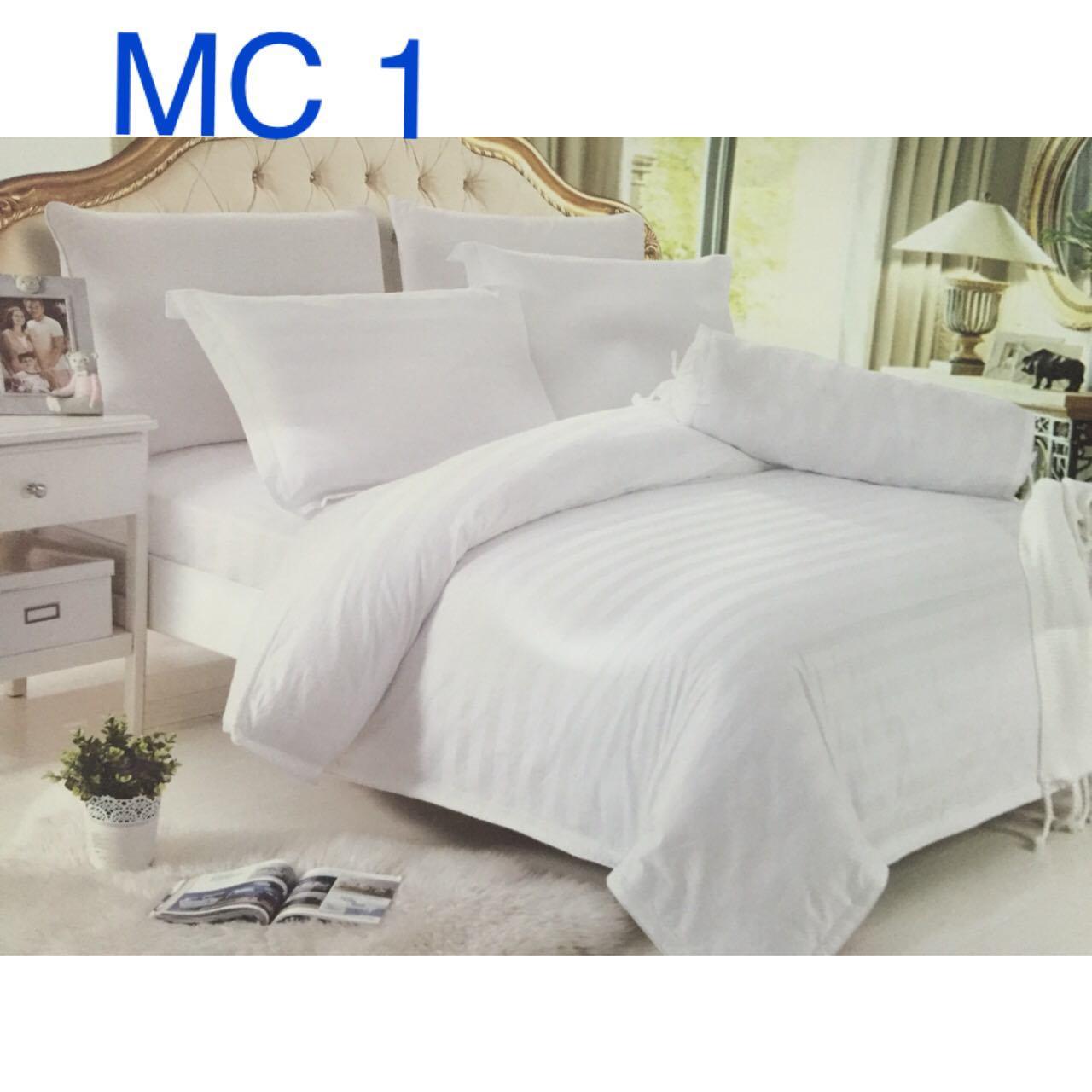 Chăn ga trắng sọc chìm 3cm - Kí hiệu: MC1