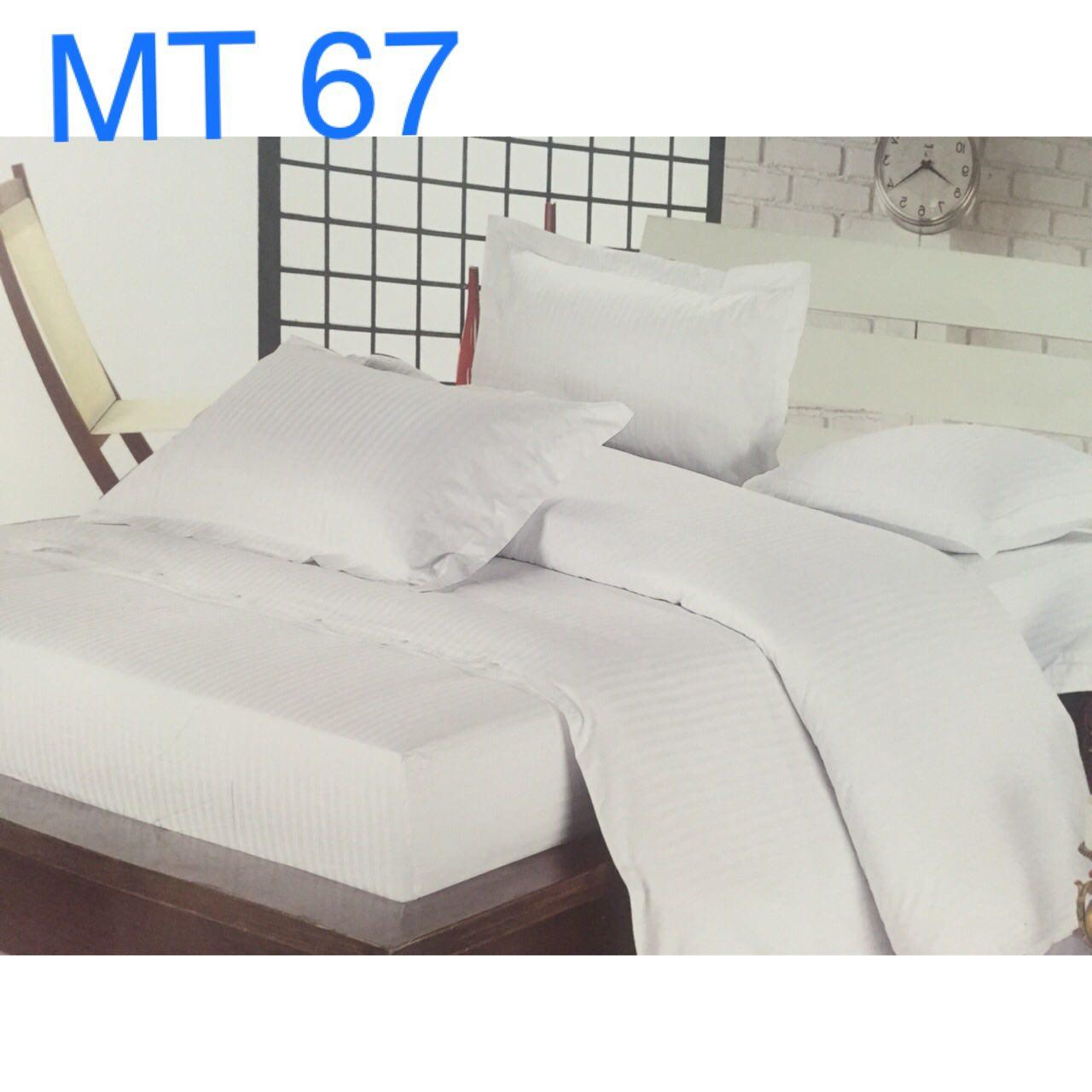 Bộ chăn ga khách sạn trắng sọc 1cm - kí hiệu: MT 67