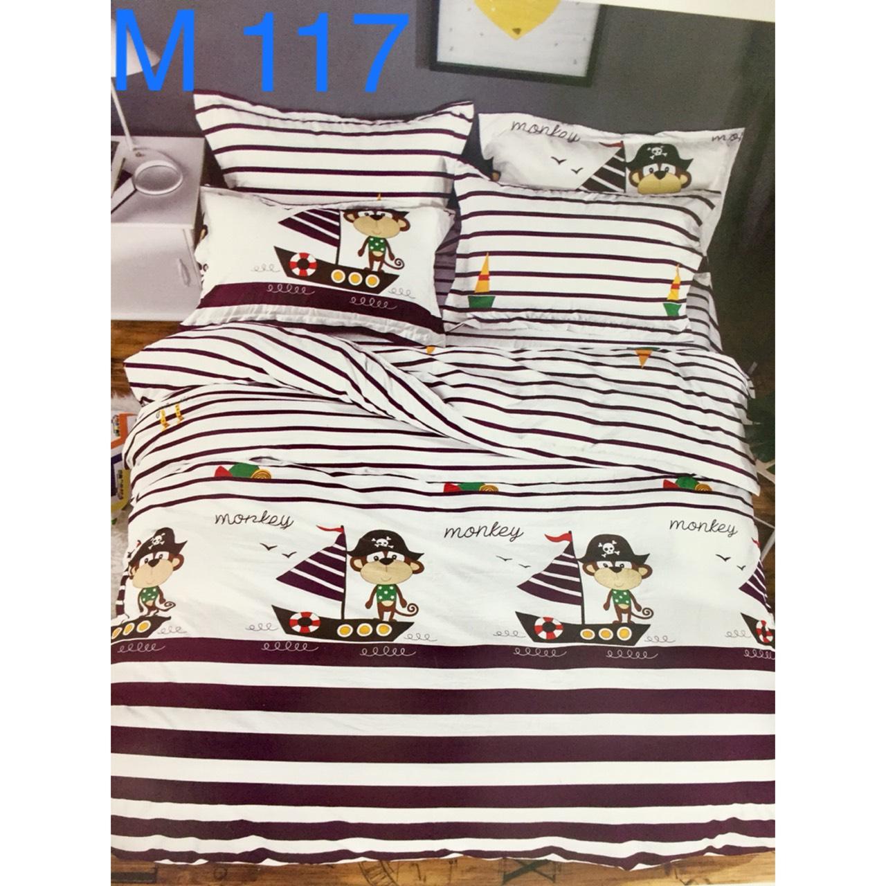 Bộ Chăn Ga Cotton Đũi Hàn Quốc - M117