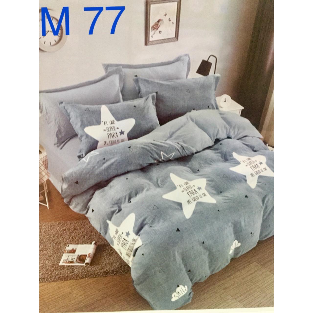 Bộ Chăn Ga Cotton Đũi Loại 1 Hàn Quốc (Mẫu ngôi sao) - M77
