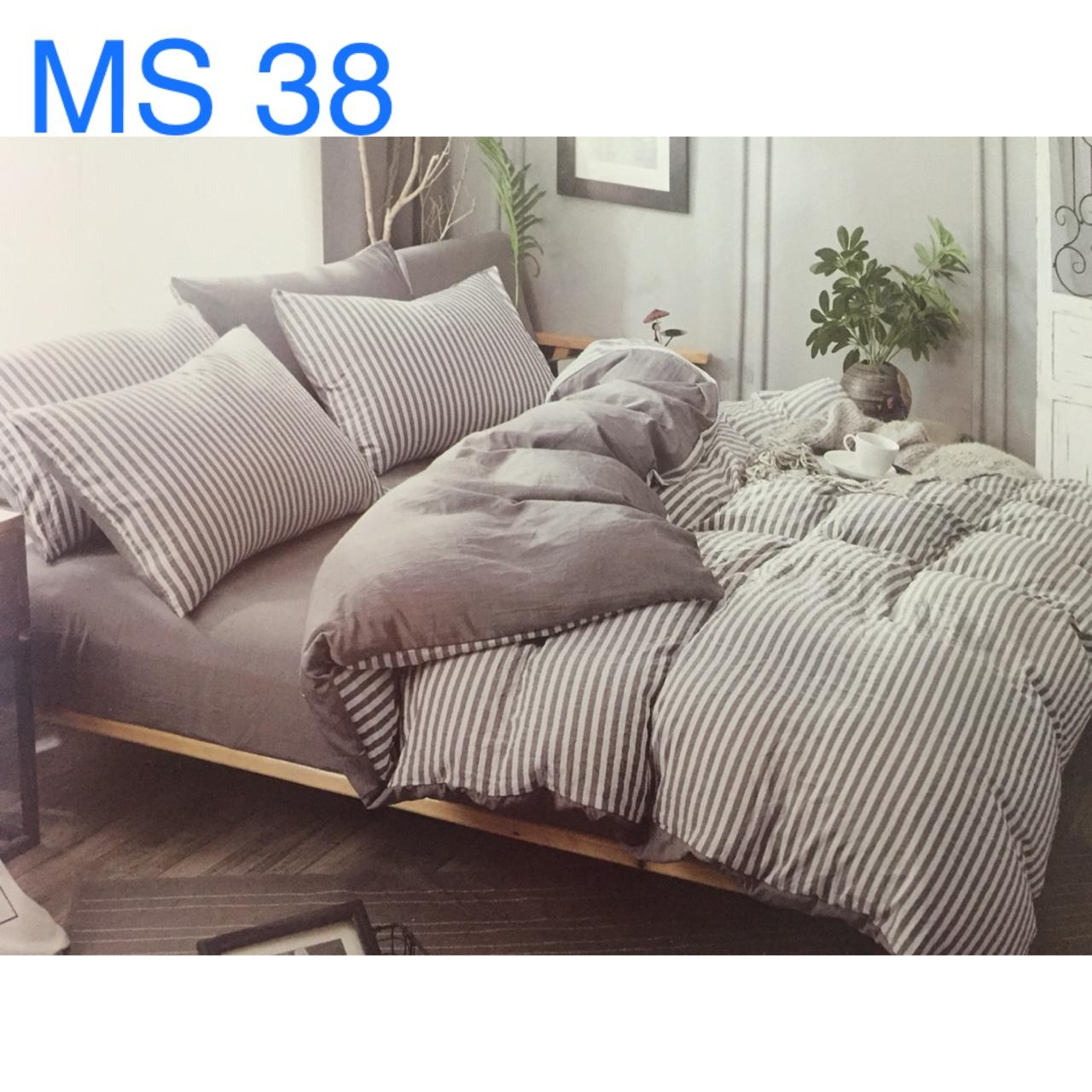 Bộ Chăn Ga Cotton Đũi Loại 2 Hàn Quốc - MS38