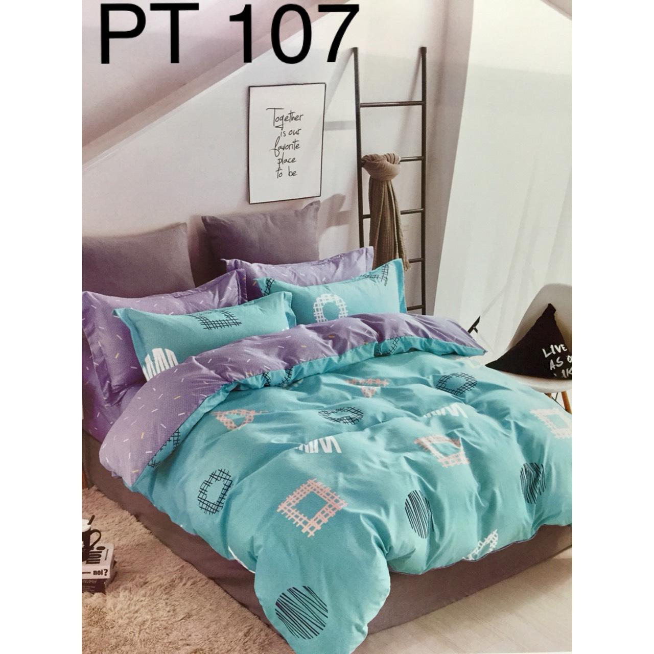Bộ Chăn Ga Phủ Cotton Hàn Quốc - PT107