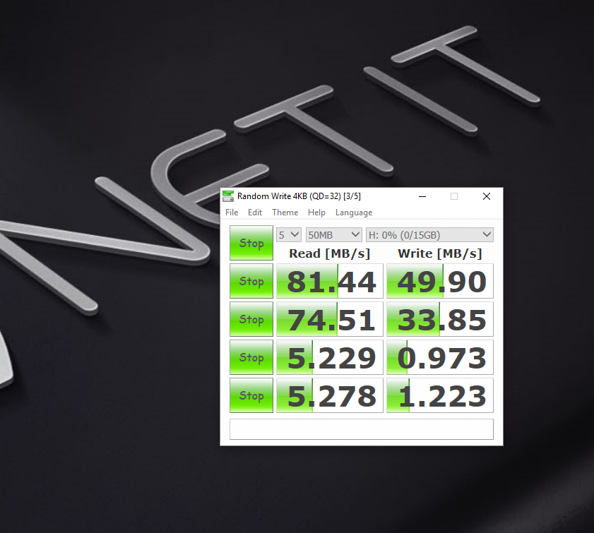 Test thông số thẻ nhớ Netac 16G
