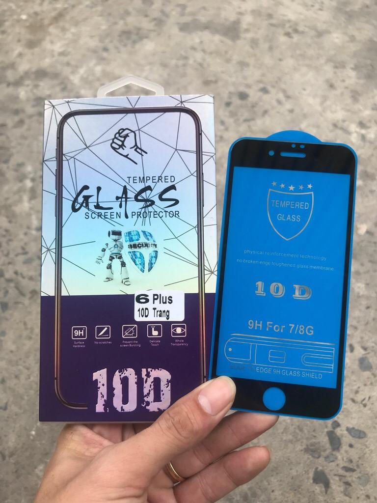 Kính iPhone 7, 8 PLUS TRẮNG cường lực 10D FULL BOX NHỰA giá sỉ và lẻ rẻ nhất
