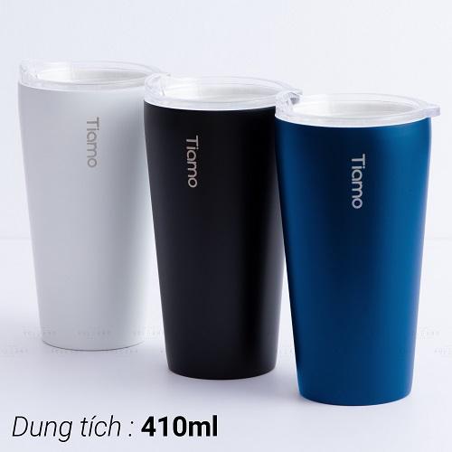 Ly cà phê trà inox phủ sứ chân không Tiamo 410ml