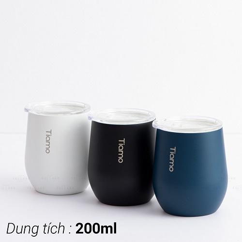 Ly cà phê trà inox phủ sứ chân không Tiamo 200ml