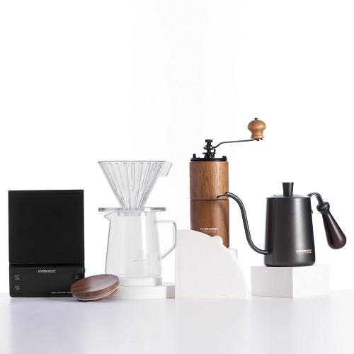 Combo bộ pha sản phẩm cà phê V60 02 hiện đại CAFEDE KONA 6 món (phễu+bình+giấy+cối+ấm+cân)