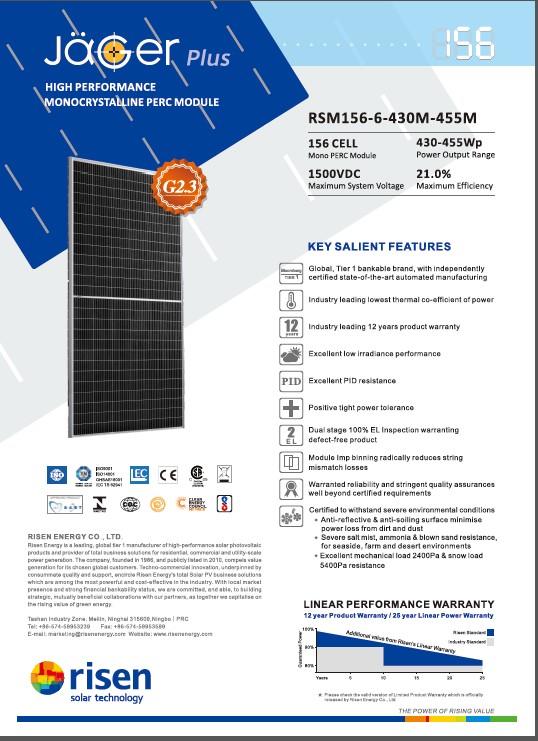 Pin năng lượng mặt trời Risen 440wp