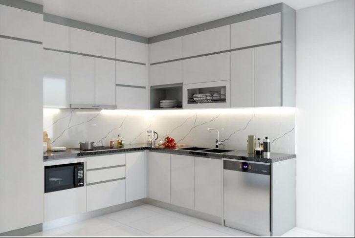 Mẫu tủ bếp sử dụng chất liệu Melamin kháng ẩm