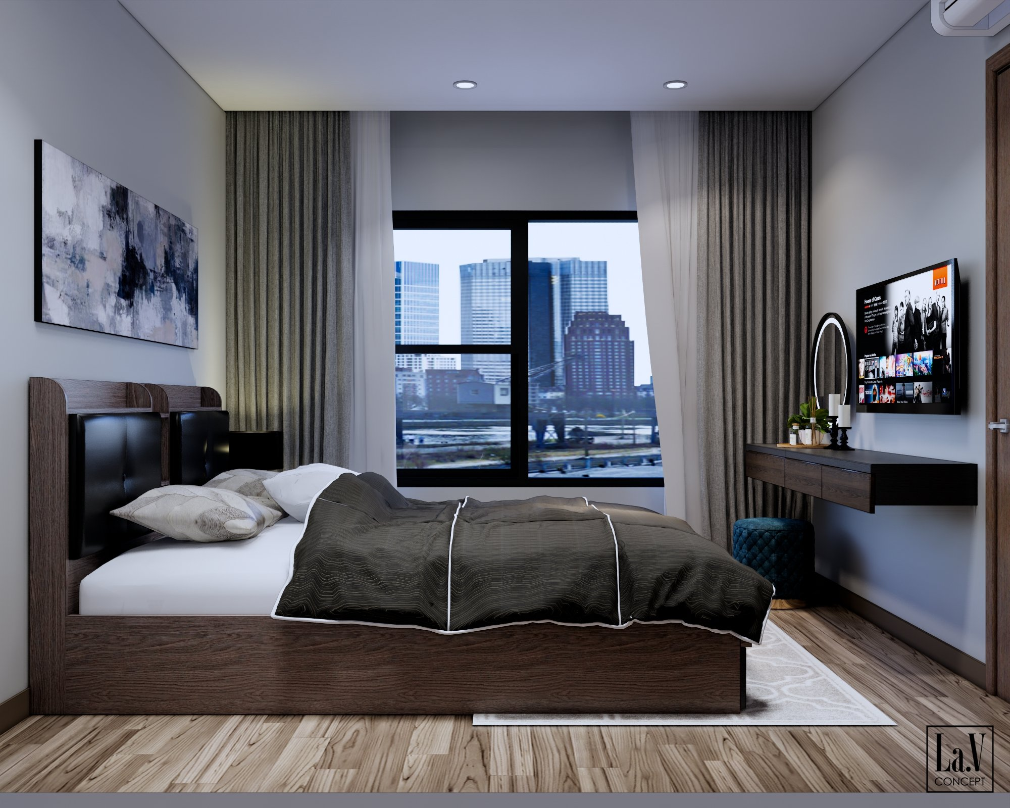 Mẫu giường thiết kế trọn bộ HP28