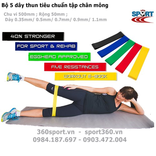 Bộ 5 dây thun tập mông chân tiêu chuẩn