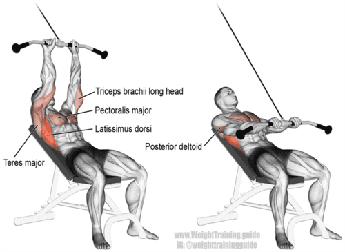 Cable Incline Straight Arm Pull Down