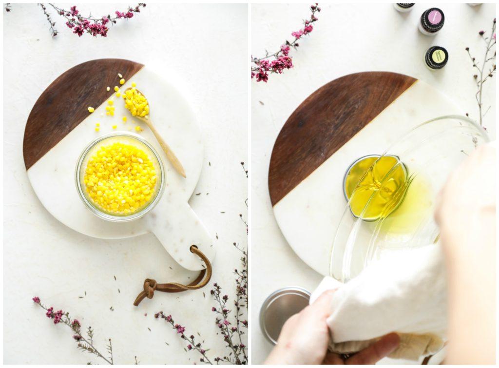 Khuấy đều hỗn hợp sáp + dầu nền + tinh dầu thơm