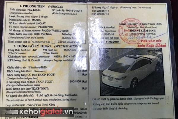 Đăng kiểm xe Mazda 6 2.0 AT 2016 cũ