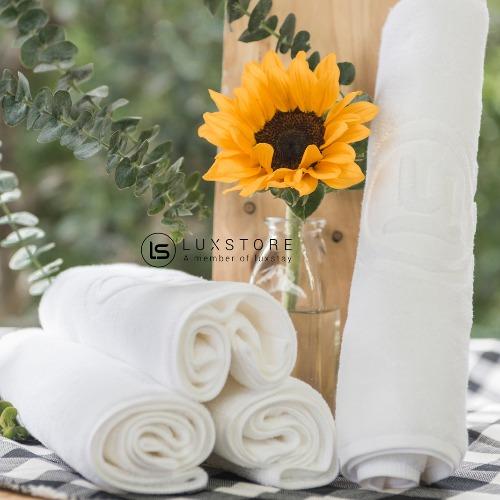 Set 50 Khăn mặt trắng Luxstay