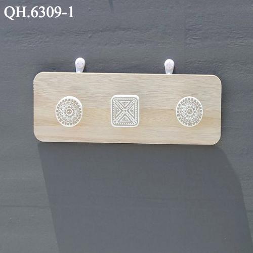 Giá gỗ 3 móc treo tường