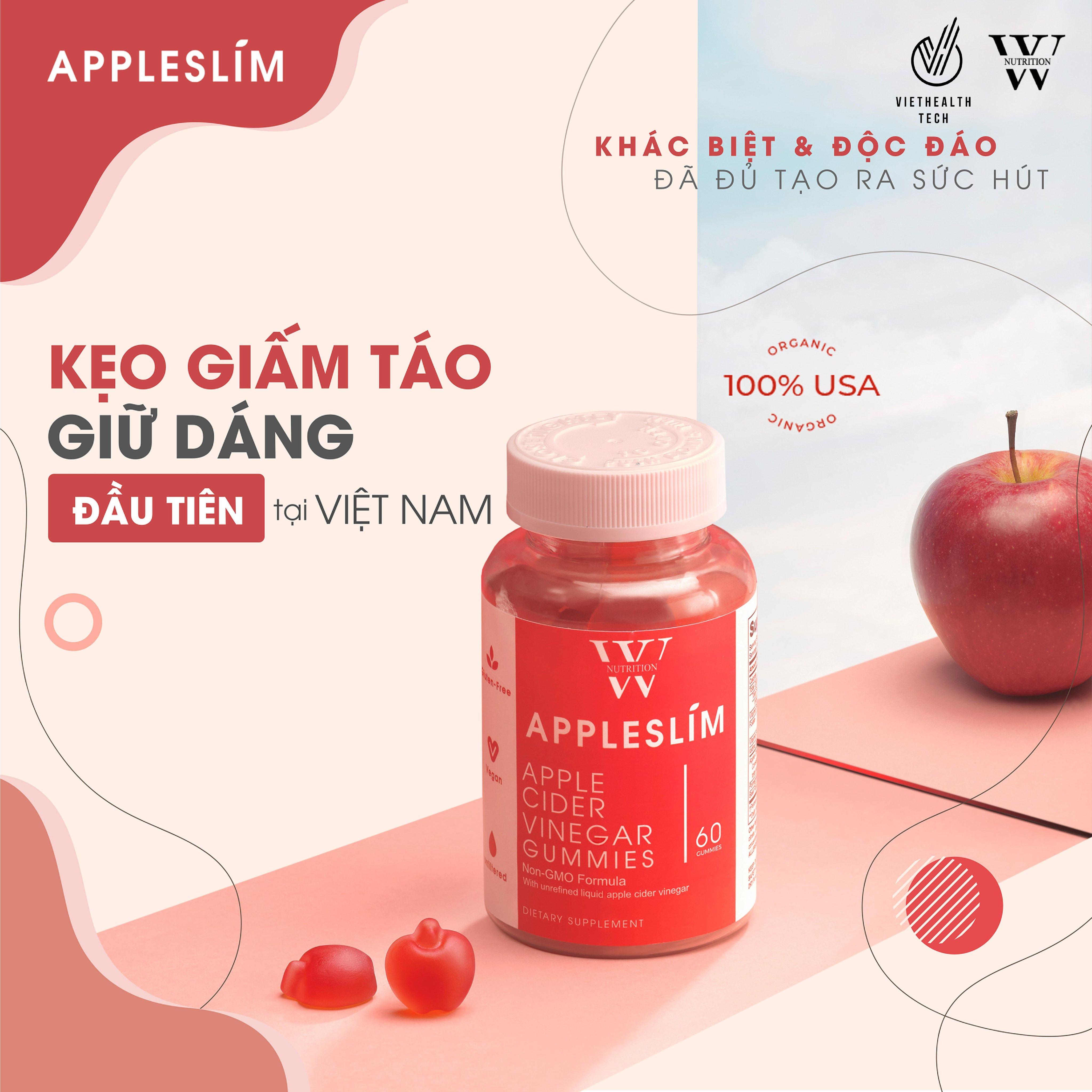 Kẹo Giảm Cân Giấm Táo AppleSlim - Nhập Khẩu Mỹ