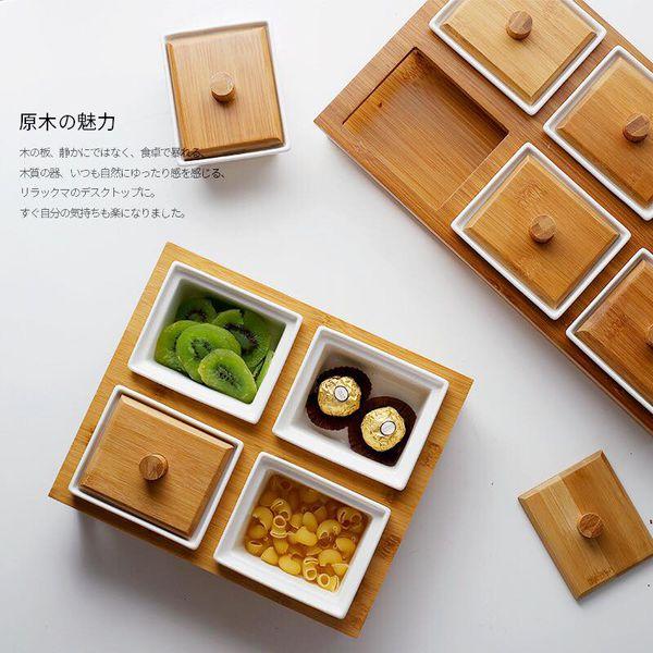 Khay mứt 6 ngăn nắp gỗ /thủy tinh