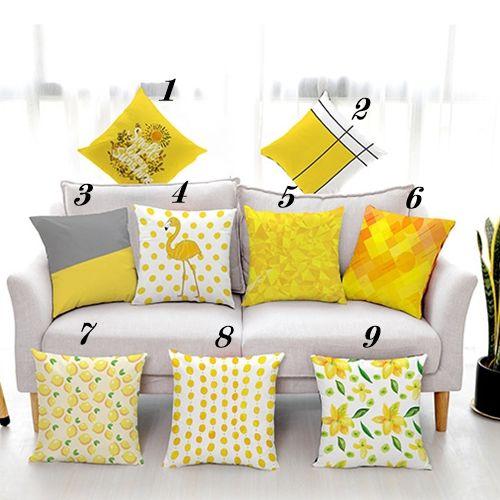 Set 3 Vỏ gối tựa Họa tiết màu vàng