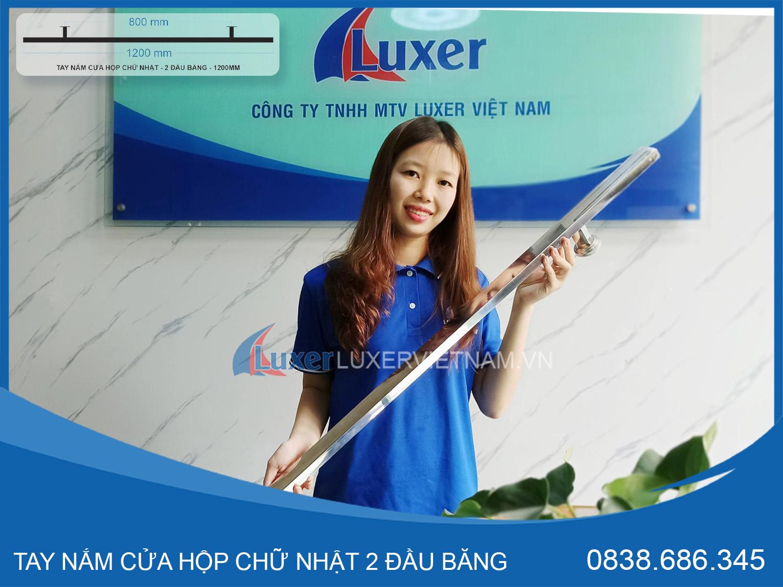 Hộp chữ nhật 2 đầu bằng 1200mm - Inox Trắng - Luxer