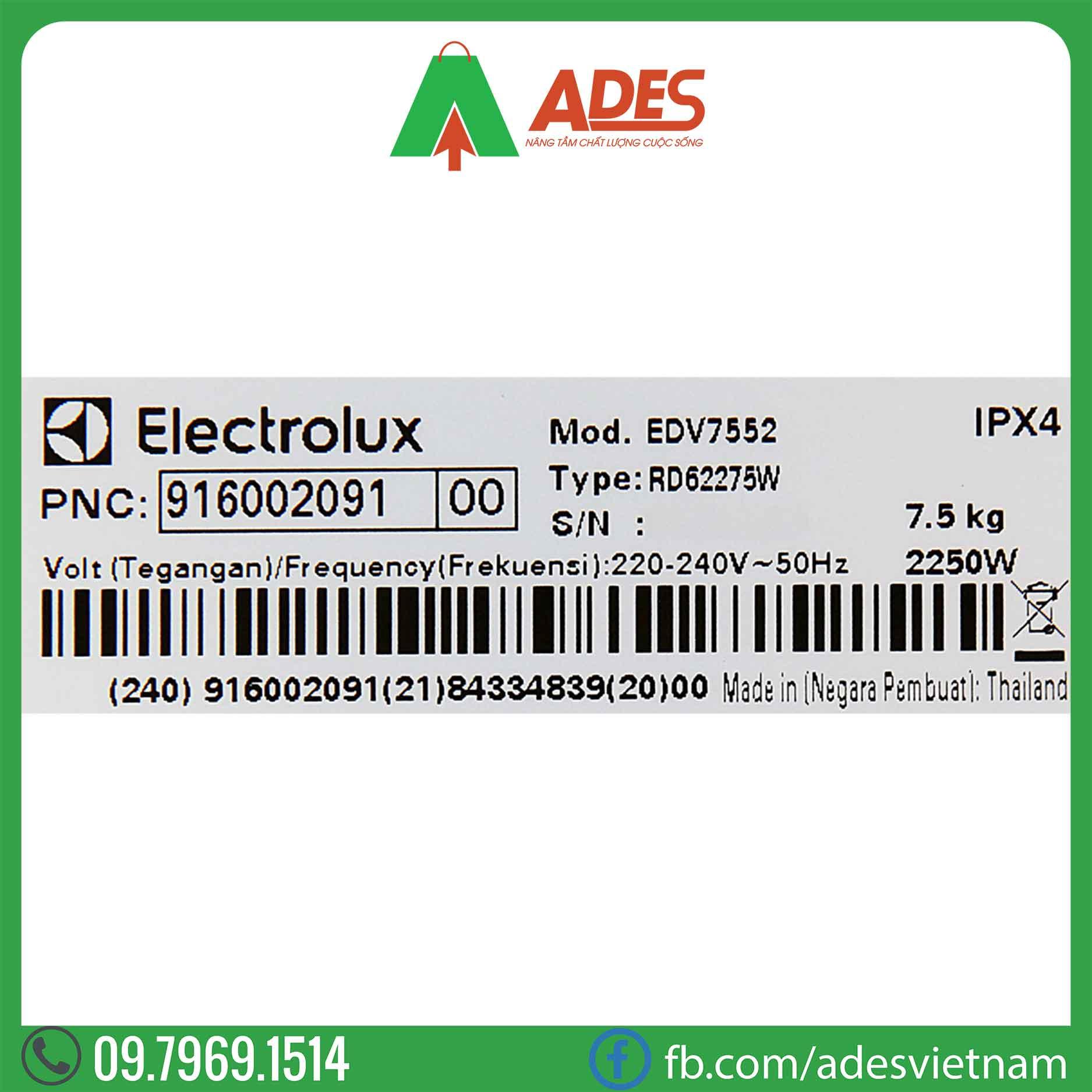 May say Electrolux 7.5 Kg EDV7552