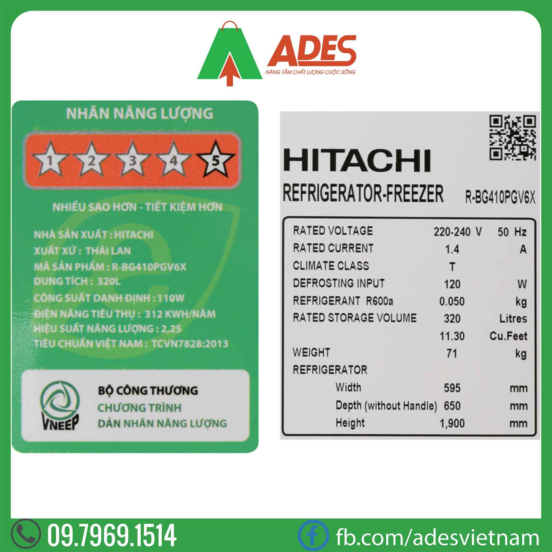 Tu lanh Hitachi Inverter R-BG410PGV6X GXR