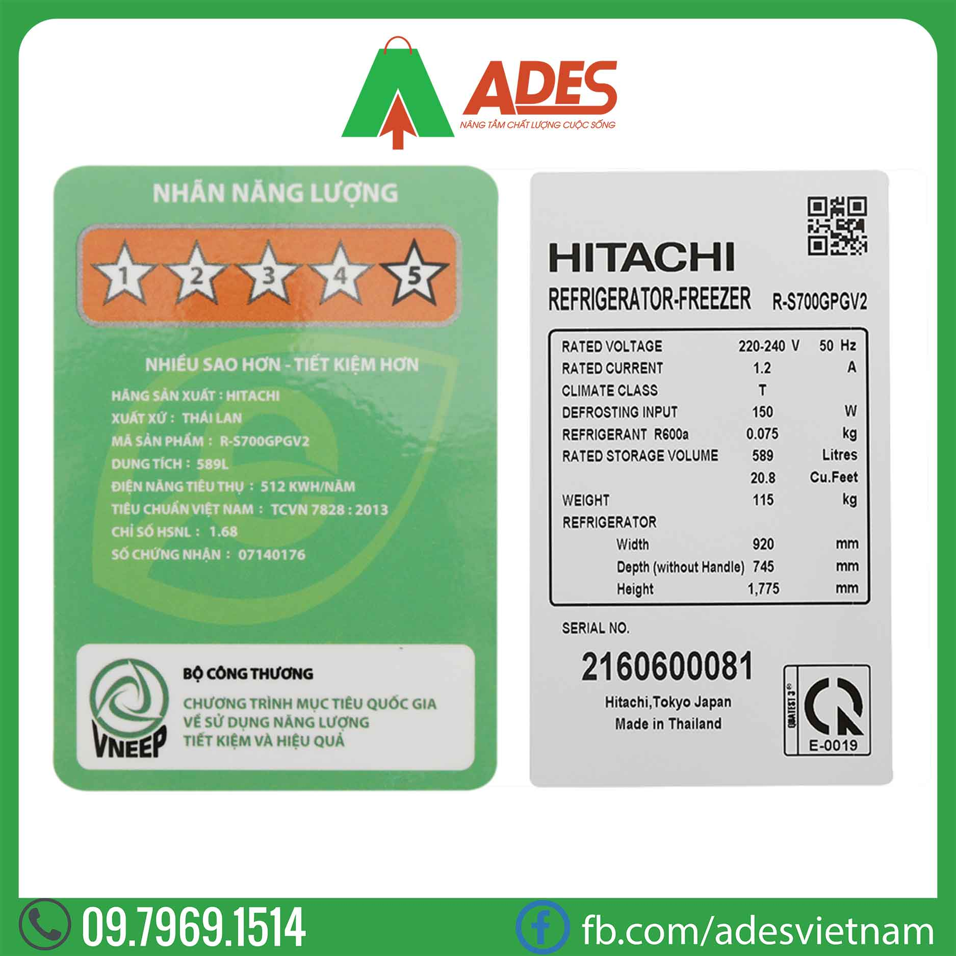 Tu lanh Hitachi Inverter R-S700GPGV2 GS
