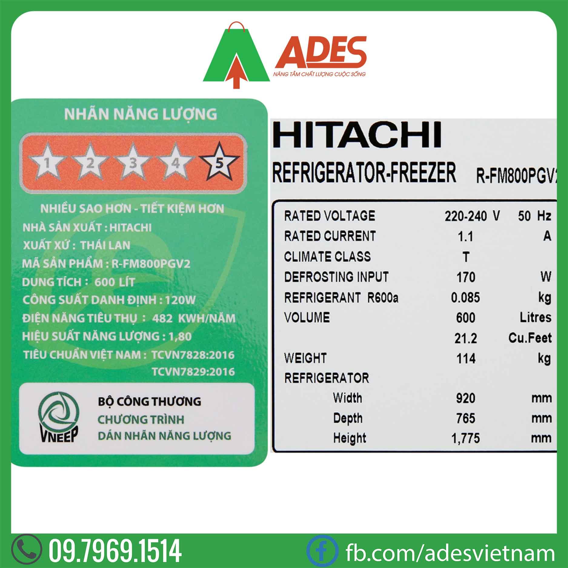 Tu lanh Hitachi Inverter R-FM800PGV2 GBK