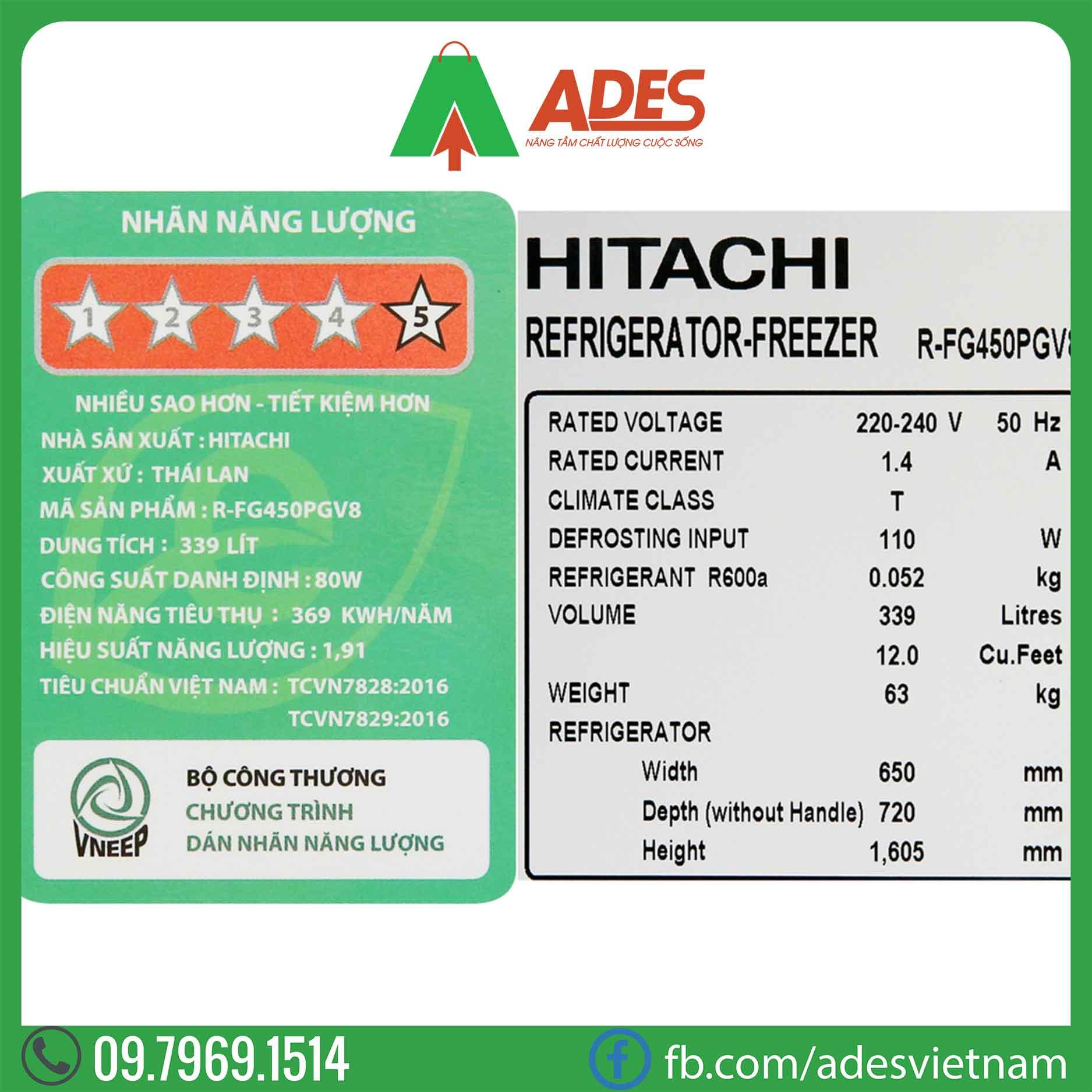 Tu lanh Hitachi Inverter R-FG450PGV8 GBK