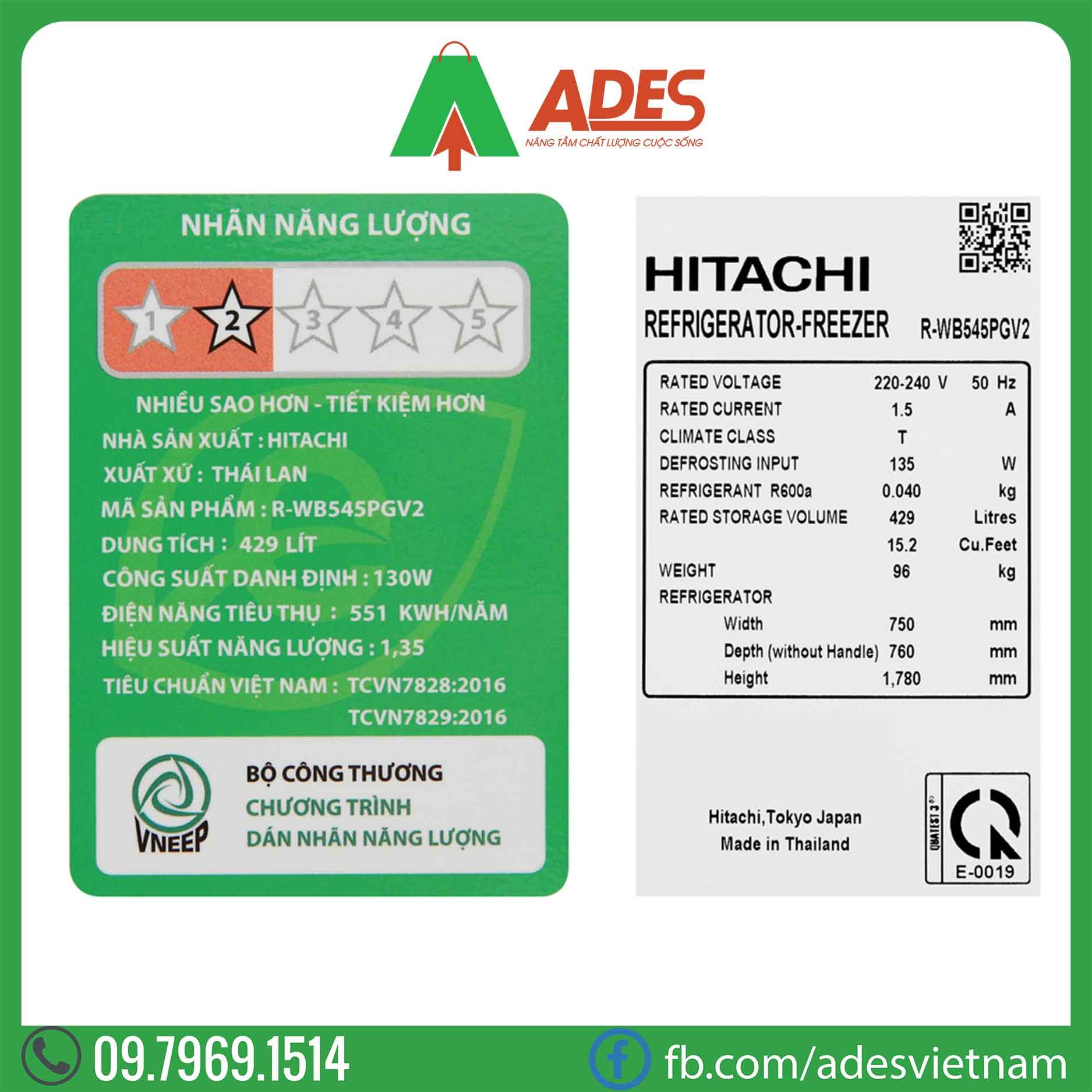 Tu lanh Hitachi Inverter R-WB545PGV2GBW