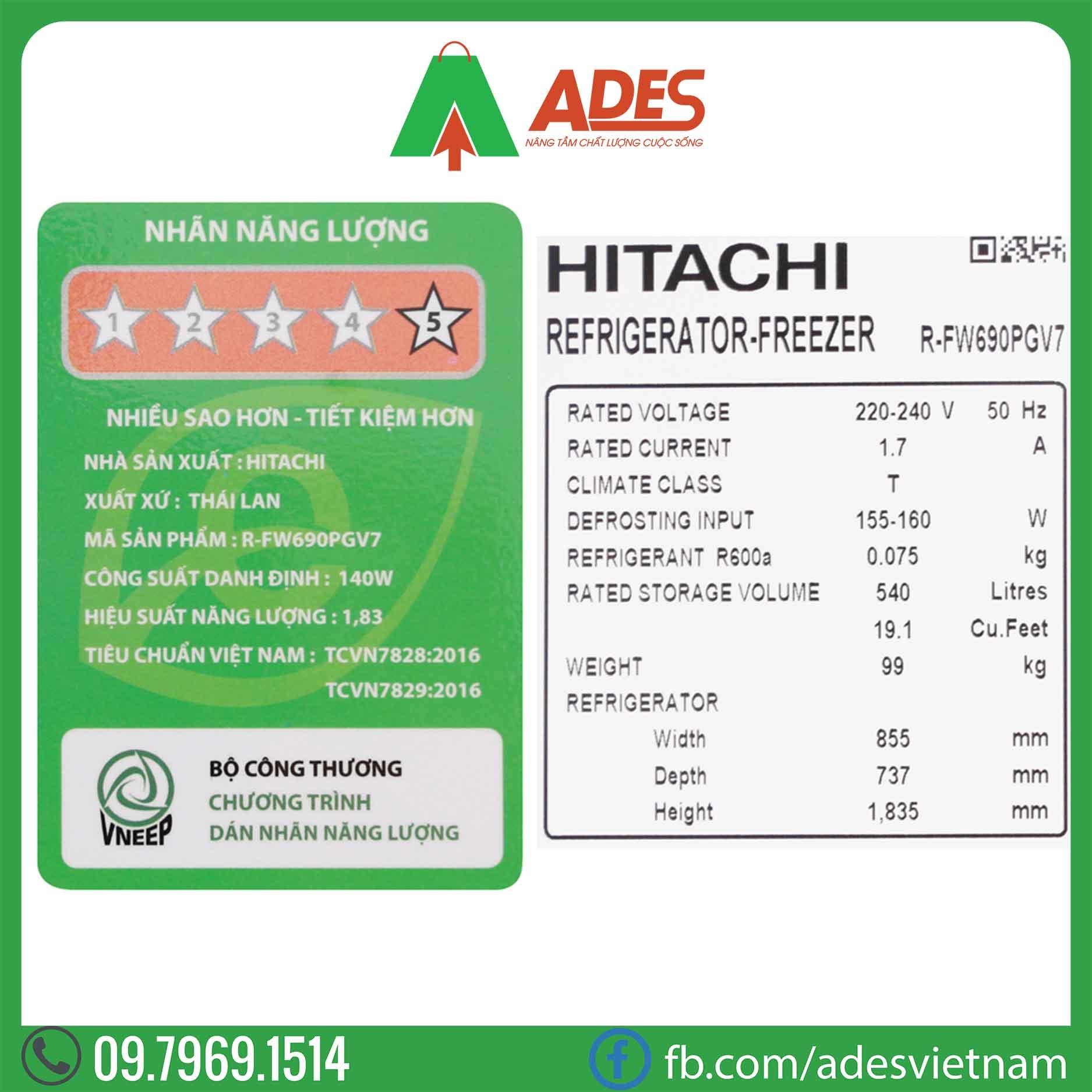 Tu lanh Hitachi Inverter FW690PGV7