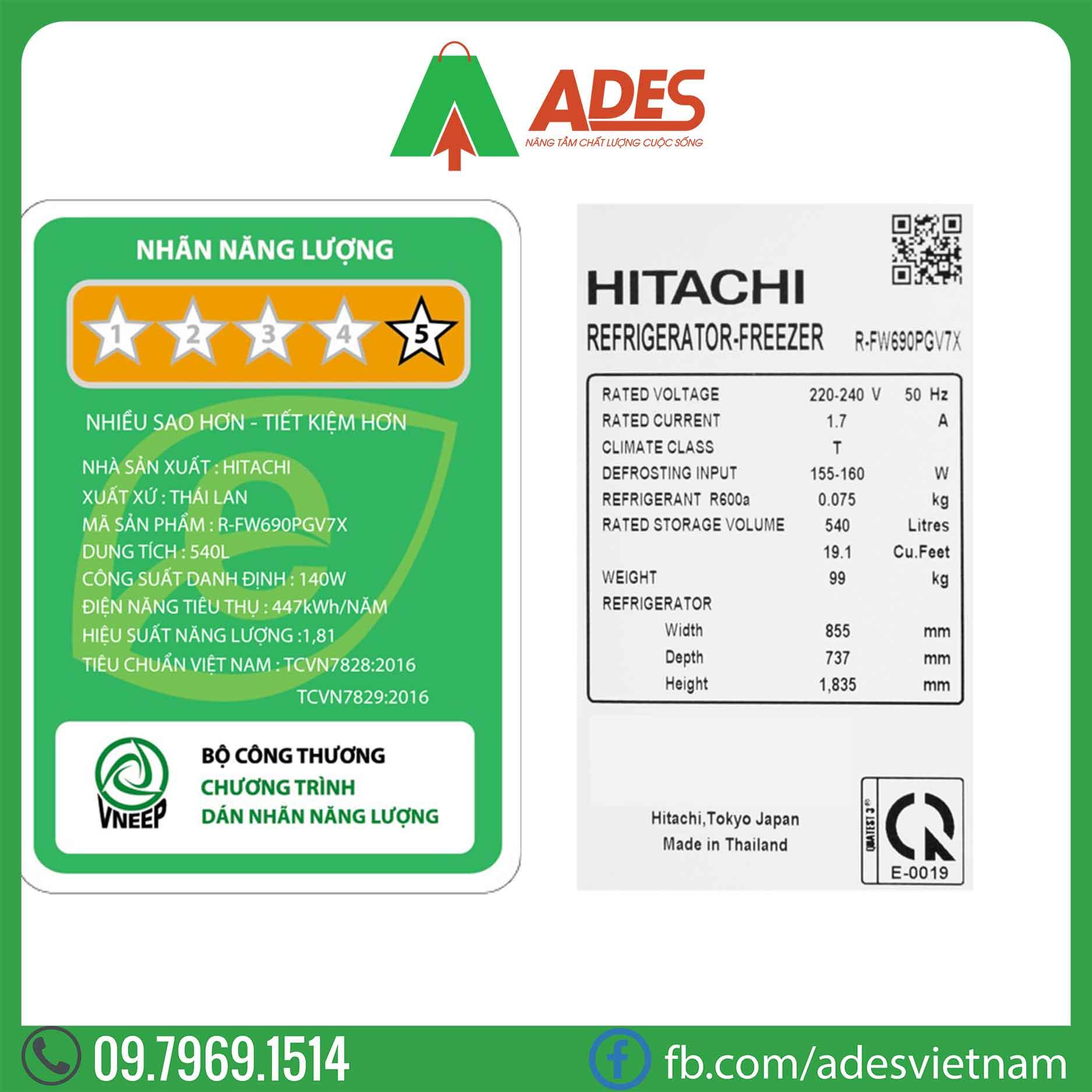 Tu lanh Hitachi Inverter R-FW690PGV7X