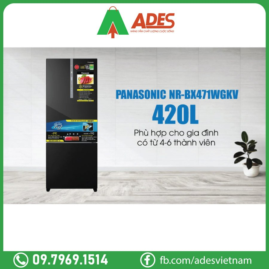 Panasonic Inverter 420 Lit NR-BX471WGKV dung tich lon 420 lit