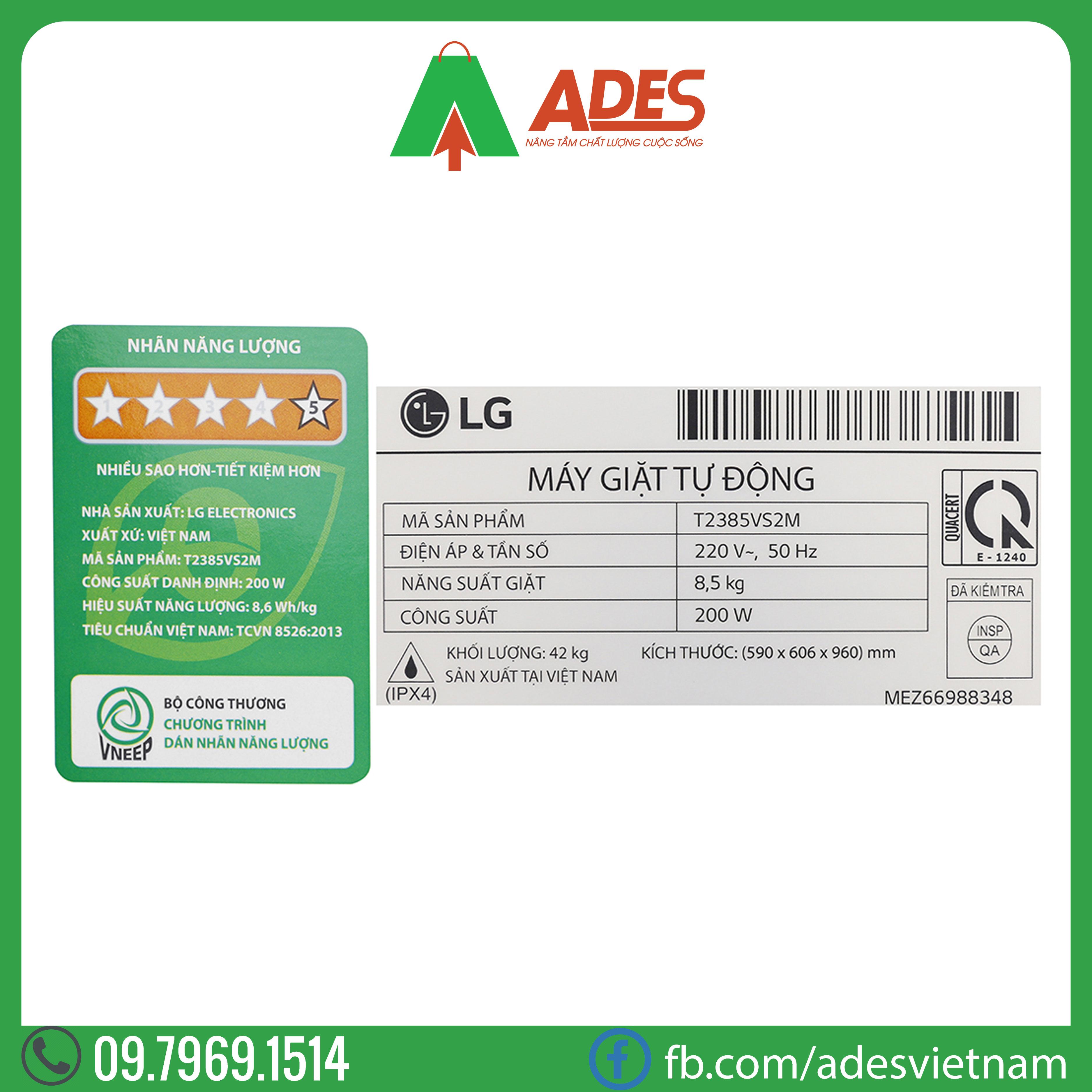 May giat LG Inverter 8.5 kg T2385VS2M