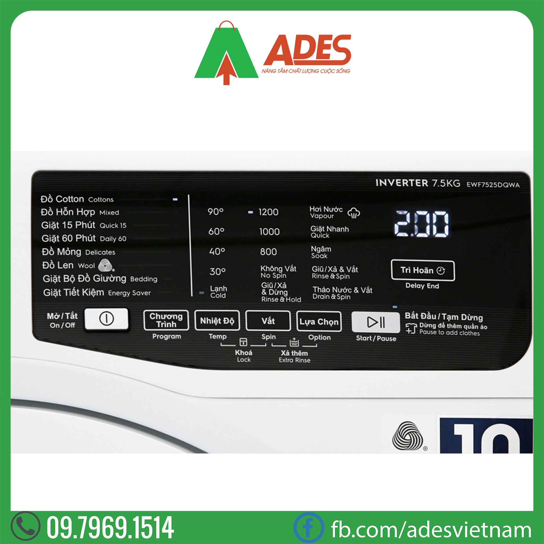 May giat Electrolux Inverter 7.5 Kg EWF7525DQWA