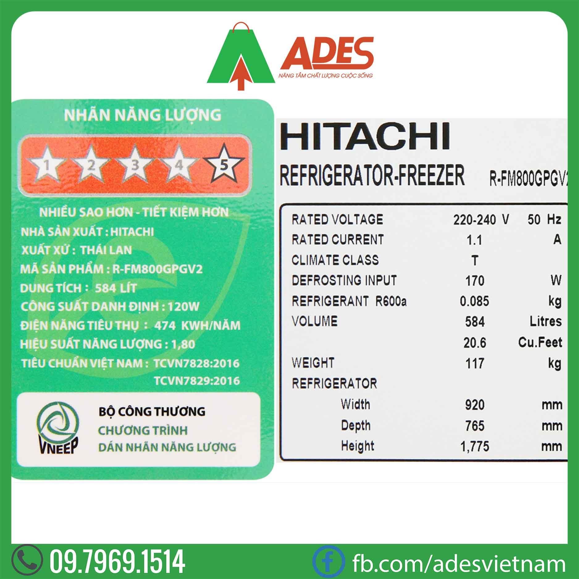 Tu lanh Hitachi Inverter R-FM800GPGV2 GBK