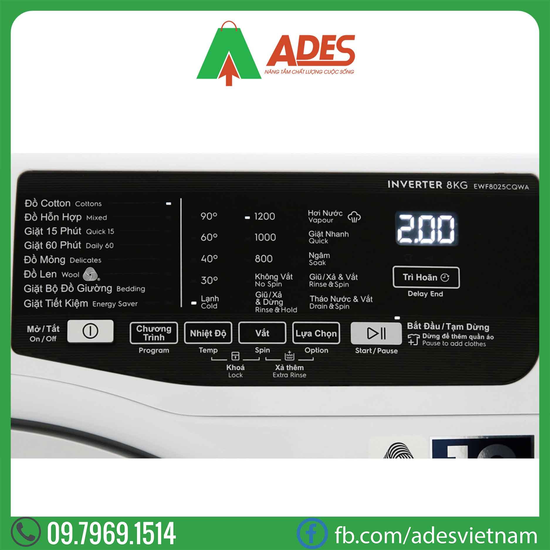 May giat Electrolux Inverter 8 Kg EWF8025CQWA