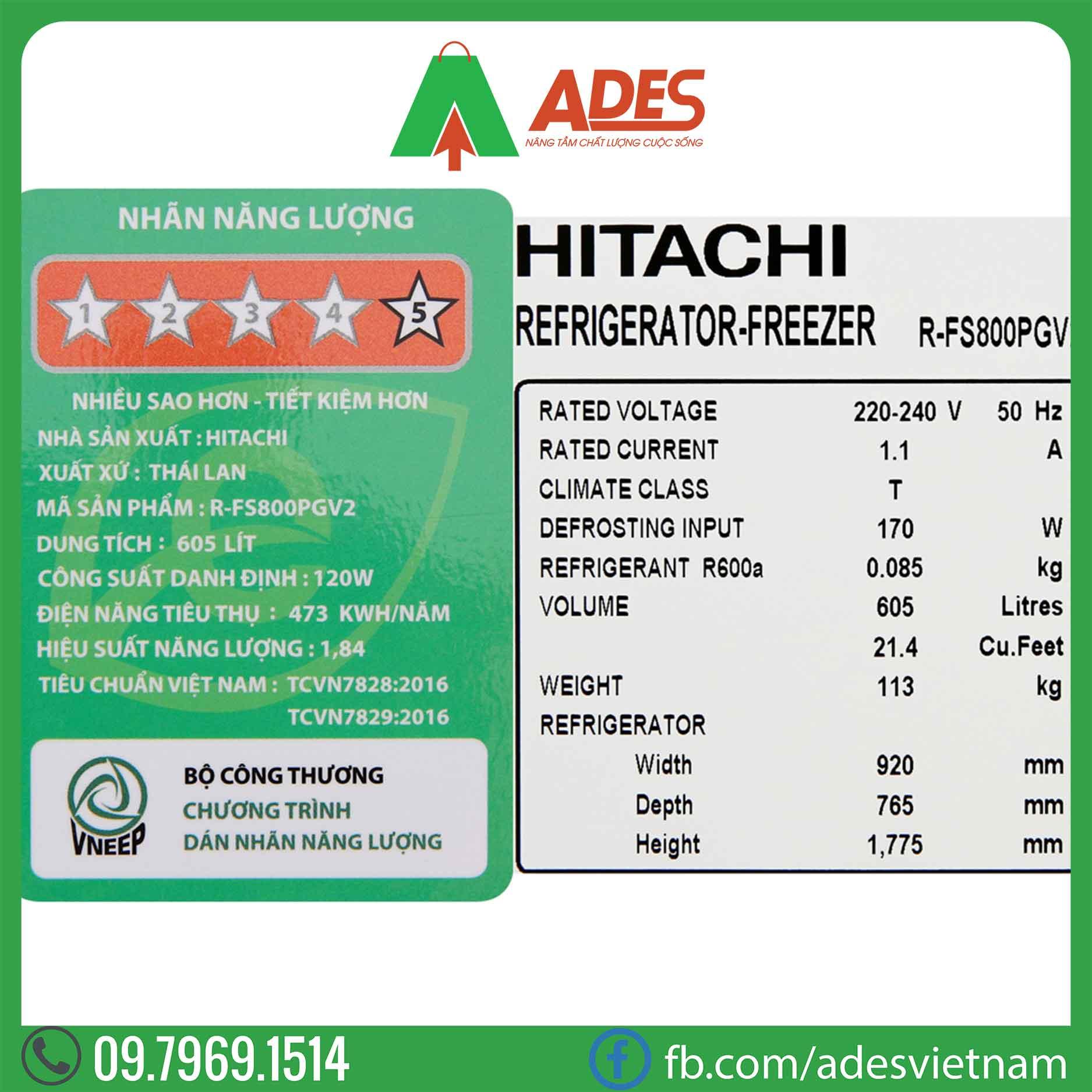 Tu lanh Hitachi Inverter R-FS800PGV2 GS